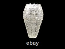 Vintage 8 3/4 Queen Lace Bohemian Czech Hand Cut Glass Crystal Vase Rare