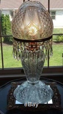 Vintage American Brilliant Cut Glass Crystal Mushroom Shade Lamp With Prisms