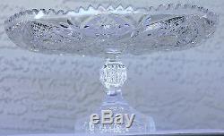 Vintage American Cut Glass Brilliant Crystal Cake Stand Pedestal Plate 11 Diam