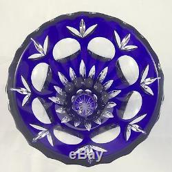 Vintage Antique Estate Ebeling Reuss Cobalt BLUE Cut to Clear Lead Crystal Vase