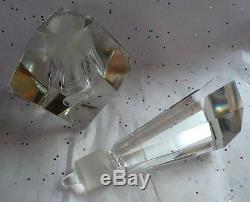 Vintage Art Deco Andrea Beveled Cut Glass Crystal 8 Perfume Bottle Dauber Nice