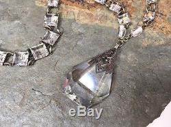 Vintage Art Deco Open Back Bezel Set Crystal Cut Glass Dangle Pendant Necklace