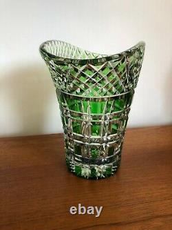 Vintage Art Deco Quality Green Flashed Cut Crystal Glass Basket Vase Bohemian