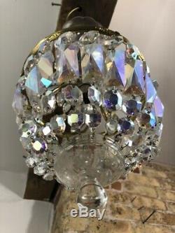 Vintage Aurora Borealis Crystal Cut Glass 2 Tier Tent & Bag Chandelier, Working