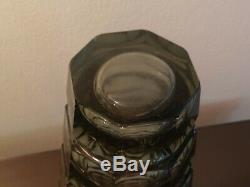 Vintage Authentic Moser Crystal Cut Vase Grey