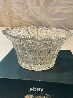 Vintage Bohemian Crystal Bowl Hand Cut 24% Lead Czech Republic Queens Lace