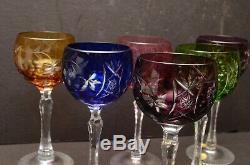 Vintage Bohemian Cut to Clear Tall Crystal Wine Hocks Multi Color glasses Set 6