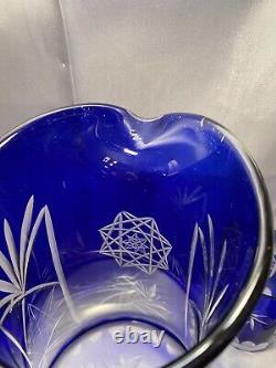 Vintage Bohemian Czech Cobalt Blue Flashed Cut to Clear Lead Crystal Pitcher Set