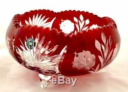 Vintage Bohemian Czech Crystal Bowl Vase Cut To Clear Red