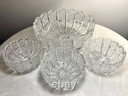 Vintage Bohemian Czech Hand Cut Queen Lace 24% Lead Crystal Bowl Set 4 PCS EXC