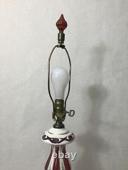 Vintage Bohemian Czech Milk Cut to Cranberry Glass Table Lamp, 32 Tall