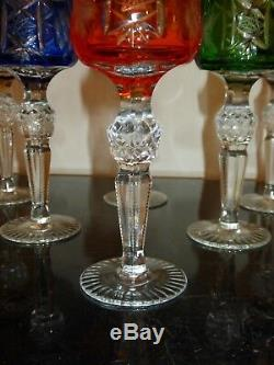 Vintage Bohemian Hortensia Crystal Cut Colored Cordial Glasses 5 3/8 H