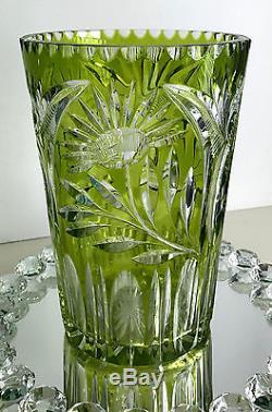 Vintage Bohemian Lime Paridot Reseda Cased Cut To Clear Crystal 6 Lb. 9 Vase