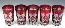 Vintage Bohemian RUBY RED CUT TO CLEAR Crystal 5.5 HIGHBALL TUMBLERS Set of 5