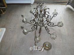 Vintage Brass Bronze Cut Glass Crystal Double Pineapple Chandelier Light fixture