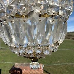 Vintage Brass Cut Glass Crystal Bag Chandelier Ceiling Light Fitting