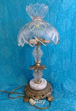 Vintage Brass Lead Crystal Cut Glass Marble Table Lamp Light Heavy 18