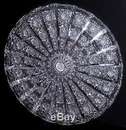 Vintage Brilliant Cut Crystal Plate Platter Queen Lace Signed 1973 Very Deep Cut