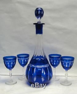 Vintage COBALT Cut to Clear Crystal CORDIAL / APERITIF DECANTER + 4 GOBLETS
