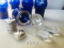 Vintage Cobalt Blue Cut To Clear Crystal Cruet Castor Set Silver Plated Holder