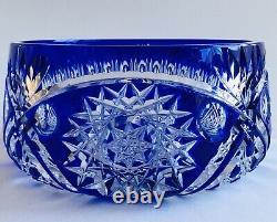 Vintage Cobalt Blue Czech Bohemian Lead Crystal Cut to Clear Bowl