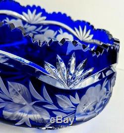 Vintage Cobalt Blue Czech Bohemian Lead Crystal Cut to Clear Bowl Sawtooth Rim