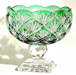 Vintage Collection Huge Emerald Green Brilliant Cut Lead Crystal Glass Vase
