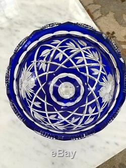 Vintage Crystal Cobalt Blue Cut to Clear Large Bowl 9 D