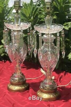 Vintage Crystal Glass Table Lamps With Spear cut glass Prisms