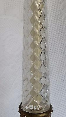 Vintage Crystal Table Lamp Cut Corinthian Column Brass Criss Cross Hansen
