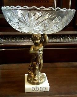Vintage Cut Glass Crystal Bowl Bronze/Brass Cherub Putti Pedestal Marble Base