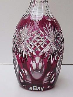 Vintage Cut Glass Lead Crystal Ruby Red/cranberry Colour Wine Decanter