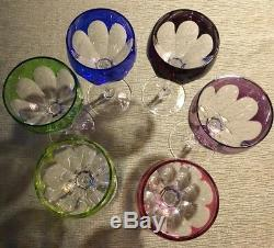 Vintage Cut To Clear Wine Glasses Hocks Stems Multi Color Set Of 6 Nachtmann