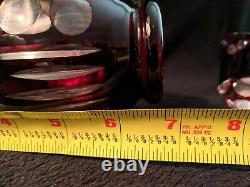 Vintage Czech Bohemian Crystal Ruby Cut Clear Cordial Liquor Glasses Decanter