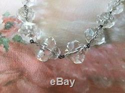 Vintage Czech Facet Cut Crystal Glass Graduated Bead Strand Necklace Sterling