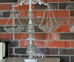Vintage Decorative Scale of Justice Cut Crystal Plates Shabby Chic Distressed