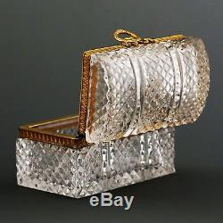 Vintage French Baccarat cut clear crystal hinge trinket Casket Box ormolu mounts