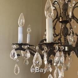 Vintage French Brass Bronze Cut Glass Crystal Double Pineapple Chandelier Light