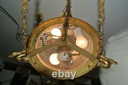 Vintage French Brass Ceiling Fixture Chandelier with Cut Glass Crystal Body