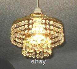 Vintage French Country 2 Tier Waterfall Cut Glass Crystal Ceiling Chandelier