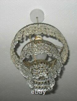 Vintage French Country 3 Tier Waterfall Cut Glass Crystal Ceiling Chandelier