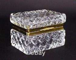 Vintage French Crystal Cut Glass Dresser Trinket Jewelry Box Casket Diamond