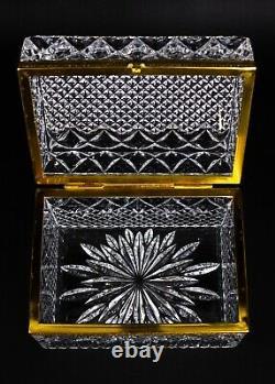 Vintage French Crystal Cut Glass Dresser Trinket Jewelry Hinged Box Casket