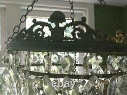 Vintage French Six Tier Gilt Brass Chandelier With Faceted Cut Glass Drops
