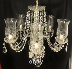 Vintage French Style Cut Crystal 5 Arm Chandelier Etched Globes Draping Crystals
