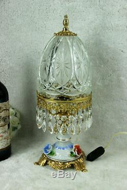 Vintage French crystal glass cut lamp porcelain flowers lamp