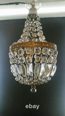 Vintage French glass Crystal cut bag/basket Chandelier ceiling light