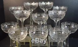 Vintage Hawkes American Cut Crystal Wine Glasses Set of 12