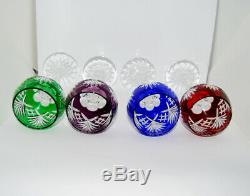 Vintage Jewel Tones Bohemian Czech Crystal Cut To Clear Wine Hock Glass Set Of 4