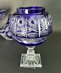 Vintage LAUSITZER GLAS Cobalt Blue Lead Crystal Hand Cut 10 Jar Centerpiece